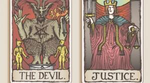 карта справедливость с картой дьявола