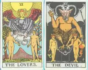 карта влюбленные с картой дьявол